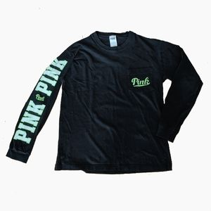 PINK VS | BLACK LONG SLEEVE WITH GREEN LOGO